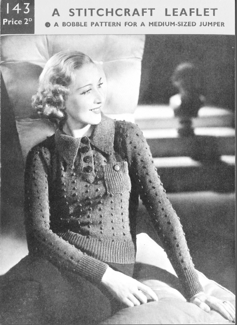 Free1930's Knitting Pattern - A Jumper with Amusing Bobbles